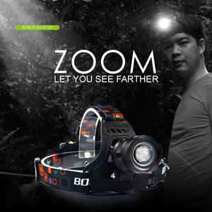 Image 3 - BORUiT RJ 2157 XM L2 lampa czołowa LED 3000LM 5 Zoom reflektor akumulator 18650 moc banku wodoodporna latarka czołowa na kemping