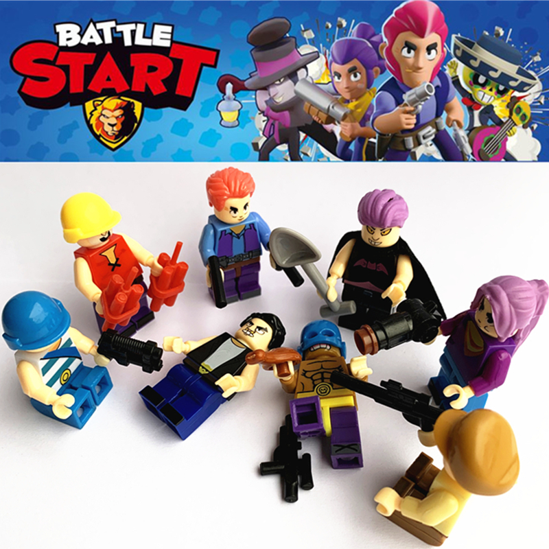 8Pcs/sets Brawl Game Cartoon Colt Figures Battle Hero Doll Anime Model Building Blocks Bricks Classic Star Kids Toys Compatible