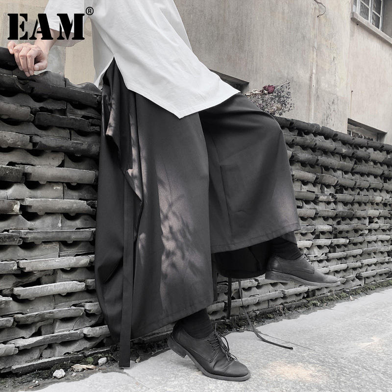 [EAM] High Elastic Waist Black Bandage Wide Leg Long Trousers New Loose Fit Pants Women Fashion Tide Spring Autumn 2020 19A-a633