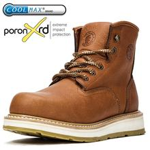 Work Safety Shoes Men's Genuine Leather Waterproof Working Boots Male Indestructible Shoes Ankle Lace Up Boots For Man