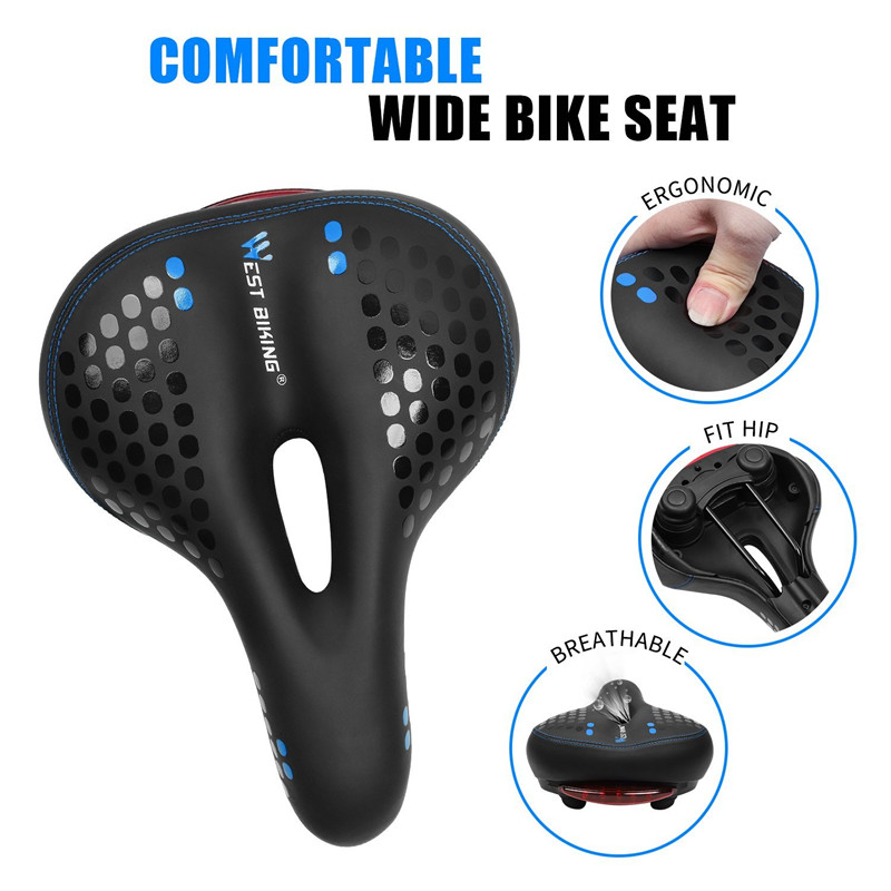 WEST BIKING Bicycle Saddle with Tail Light Thicken Widen MTB Bike Saddles Soft Comfortable Bike Hollow Cycling Bicycle Saddle in Bicycle Saddle from Sports Entertainment