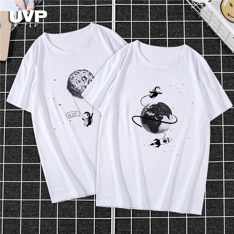 Funny Astronaut Printed T Shirts Men's Couple Tee Shirts Tops Plus Size Streetwear Slim Loose Fit Summer Anime Short Tshirt 2020