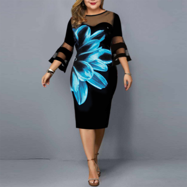 floral dress mesh neck and sleeves knee hi 5
