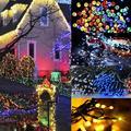 22 м Новый Декоративный Солнечный Рождественский светильник s 200 светодиодный Сказочный струнный светильник для наружной свадебной вечерин...