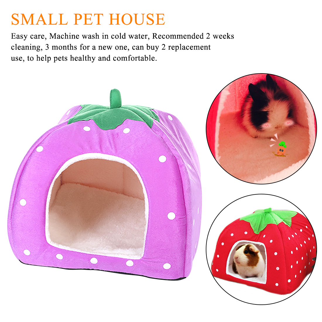 1pcs  Red House Nest Small Pet Animal Guinea Pig Hamster Bed House Nest Winter Warm Squirrel Hedgehog Rabbit Chinchilla Rat Bed