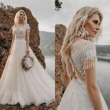 Voltar crochê rendas vestidos de casamento 2021 rendas praia boho r a linha tule trem varredura vestidos de noiva tule boêmio casamento