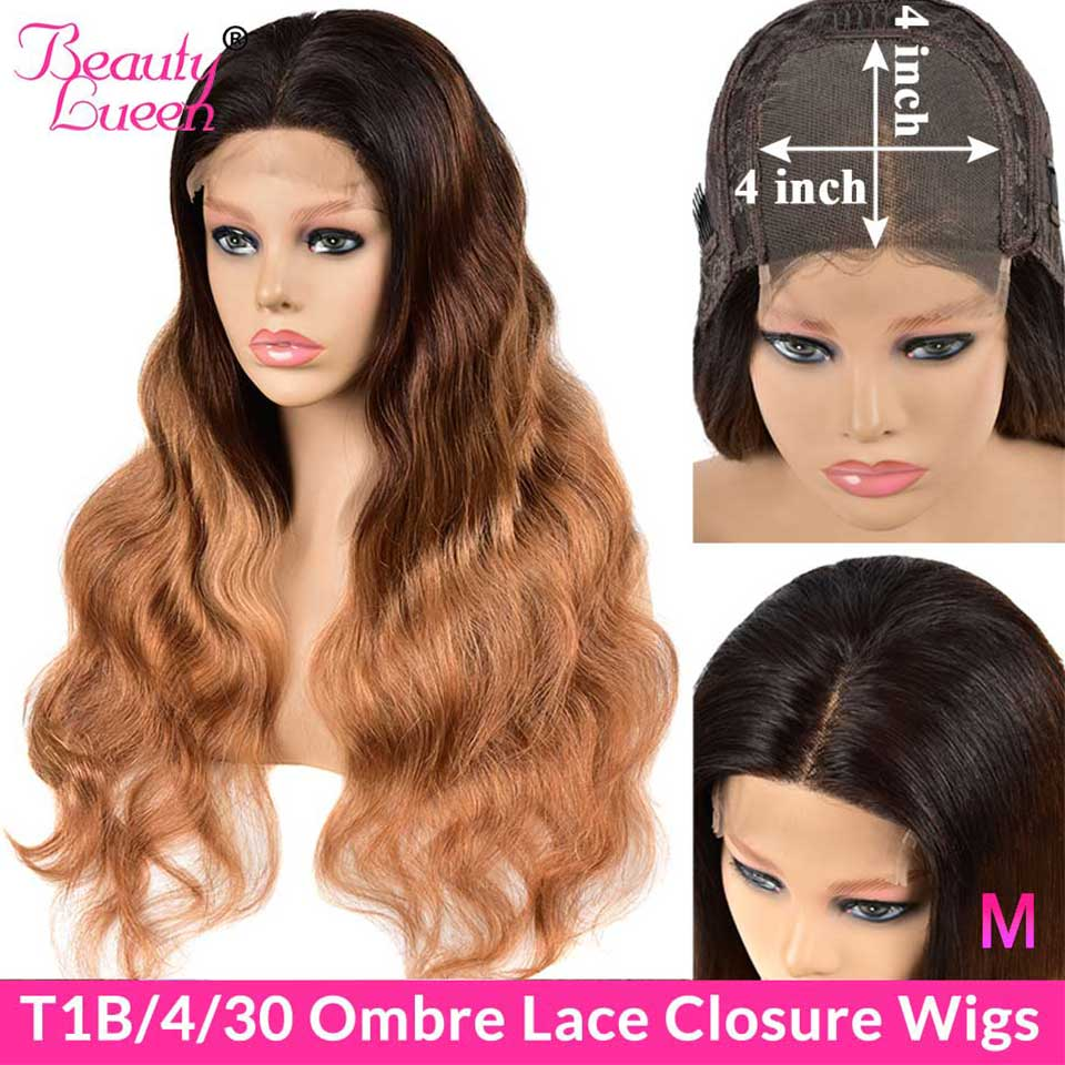 4X4 Lace Closure Wigs Ombre Peruvian Body Wave Wigs Remy T1B/4/27 30 Lace Front Human Hair Wigs Pre Plucked For Black Women