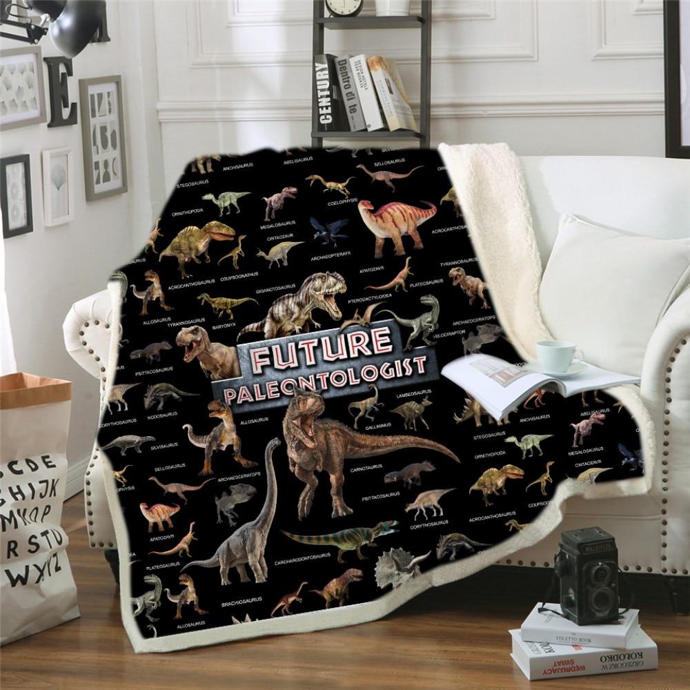 New Dinosaur Family Hooded Throw Velet Blanket for Kids Jurassic Park Dinosaur Sherpa Fleece Blanket Microfiber Fabic Blanket