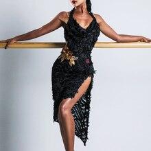 Латинское танцевальное платье женское сексуальное Танго Сальса ча тренировочная одежда Румба Самба лайкра танцевальный наряд Бальные платья для выступлений DC2664
