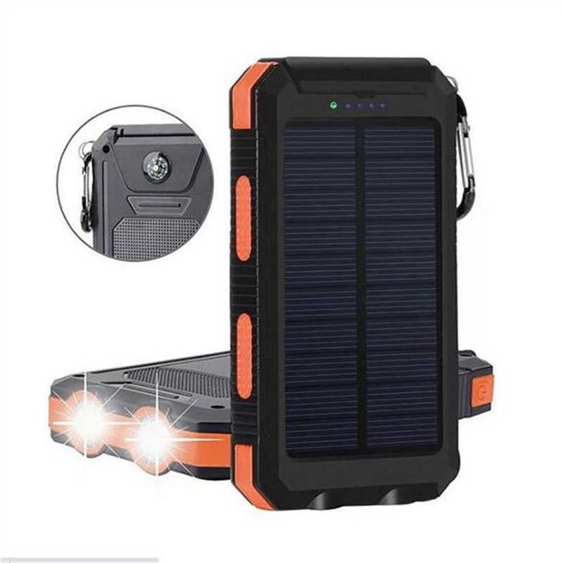20000mAh Dual USB DIY Solar Powered Bank Case Kit With LED Light Com Pass Waterproof Flashlight For Outdoor Torch Portable