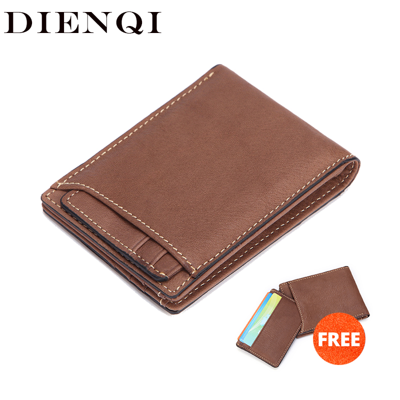 DIENQI Rfid Card Holder Genuine Leather Men Wallets Money Bag Male Vintage Short Purse Small Slim Mini Wallet Thin Magic Walet