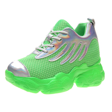 YeddaMavis Shoes Green Daddy Women Sneakers New Wild Thick Bottom Lace Up Womens Woman Trainers