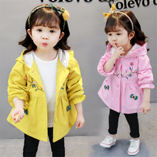Baby Toddler Girls Hoodie Coat Autumn Winter Fleece Velvet Outfits Kids Windbreaker Outerwear Floral Clothes For 2 3 4 5 6 Years