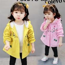 Da Criança do bebê Meninas Com Capuz Casaco de Outono Inverno do Velo De Veludo Roupas Infantis Outerwear Blusão Roupas Florais Para 2 3 4 5 6 anos