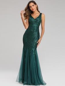 YIDINGZS Party Dress Mermaid Elegant Formal Green Long Sleeveless YD9682