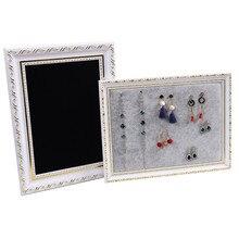 Marco de foto único pendientes cadena collar pulsera soporte de exhibición de Joyas Vintage escaparate negro/gris