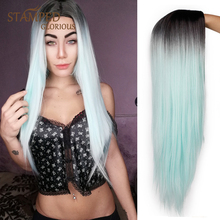 Stamped Glorious 26inches Long Ombre Black Green Wig Straight Synthetic