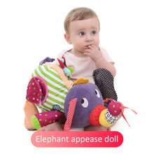 Baby Rattles Elephant doll plush rattles toy Educational Toys Cartoon  3+ month & Toddler colorful beads curiosity stop cry