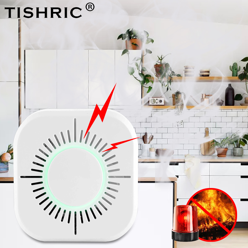 TISHRIC Wireless Smoke Sensor Detector 433mhz Fire Alarm System Security Works With Sonoff Bridge Wifi Google/Smart Home Alexa
