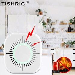 TISHRIC di Fumo Senza Fili del Rivelatore del Sensore 433mhz Sistema di Allarme Antincendio di Sicurezza funziona con Sonoff Ponte Wifi Google/smart Home, Casa Intelligente Alexa