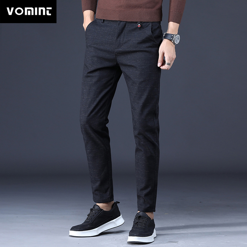 Vomint 2020 Mens Pants New Smart  Casual Straight  Midweight  Trousers Solid Color Cotton Pants  Full Length Trousers