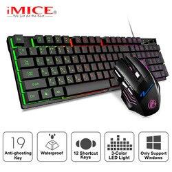 Keyboard Gaming RGB Backlit Keyboard dengan Diam Gaming Mouse Set Bahasa Rusia Keyboard Mouse Gamer Kit untuk Permainan Komputer PC Laptop