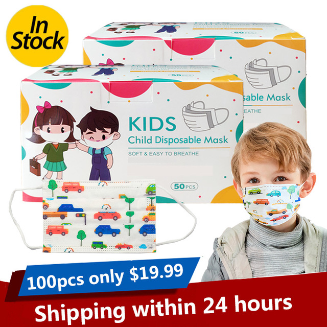 3-13 Years Old Children's 3 Layers Face Mask Kid Non-woven PP Face soft friendly Disposable Cartoon Printed Mask dropshipping 4
