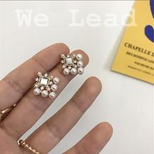 2020New Korean Vintage Earrings For Women Square Geometric Rhinestone Earrings Delicate Pearl Long Drop Earrings Fashion Jewelry цена 2017