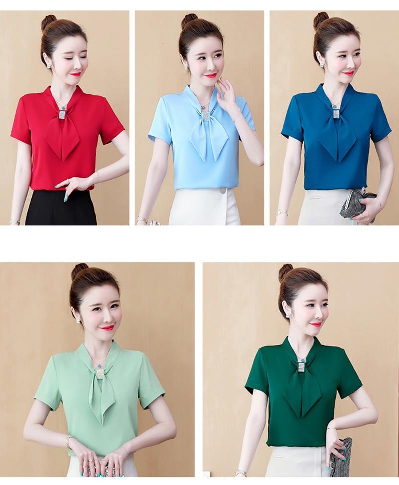 JMPRS Chiffon Women Blouse Pullover Summer Short Sleeve Elegant Bow Loose Plus Size Ladies Tops Fashion Office Korean Blusas