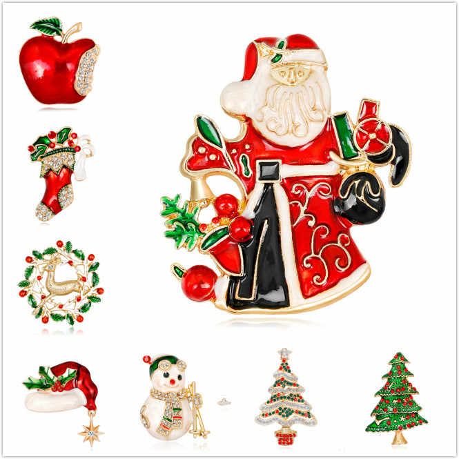 Beautiful Fashion New Year Christmas Boots Brooch Santa Claus Shoes Carriage Rhinestone Brooch Jewelry