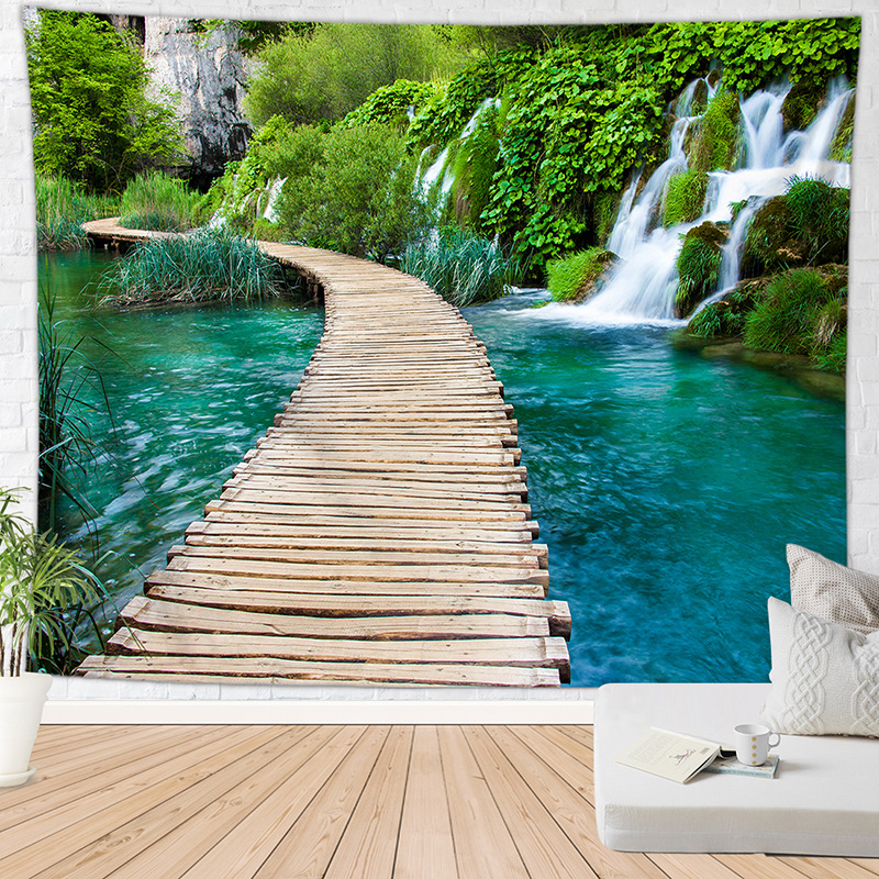 Nature Waterfall Tapestry Wall Room Decor Carpet Tree Forest Landscape Hanging Tapestries Aesthetic Boho Bedroom Home Decoration