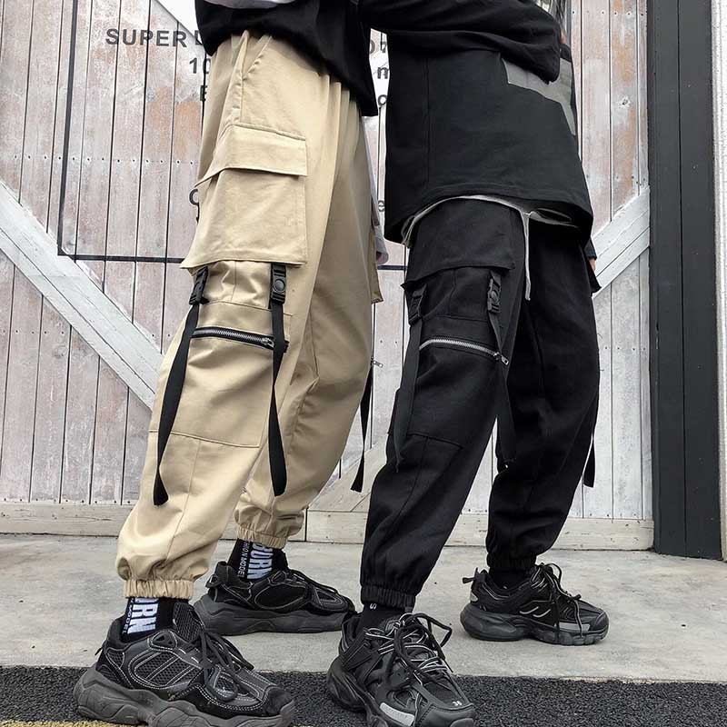 NiceMix 2019 Harajuku Cargo Pants Women Streetwear Elastic High Waist Black White Purple Loose Ladies Trousers Pockets Pantalon