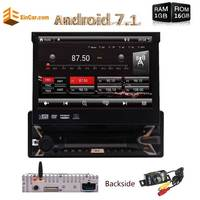 7 Touch Screen Single Din Android 7.1 Quad core 1GB+16GB GPS Car Radio Head Unit DVD Player Bluetooth Stereo WiFi +Rear Camera