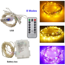 Christmas LED String Light 5M 10M 50/100 LEDs Silver Wire Fairy Garland Waterproof With 8 Modes Remote Battery/USB Powered usb 10m 8 modes 100 led string light christmas waterproof copper wire led string fairy light battery powered remote control