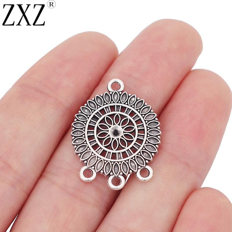 ZXZ 20pcs Flower Chandelier Connectors Charms Pendants For Earring Jewelry Making Findings