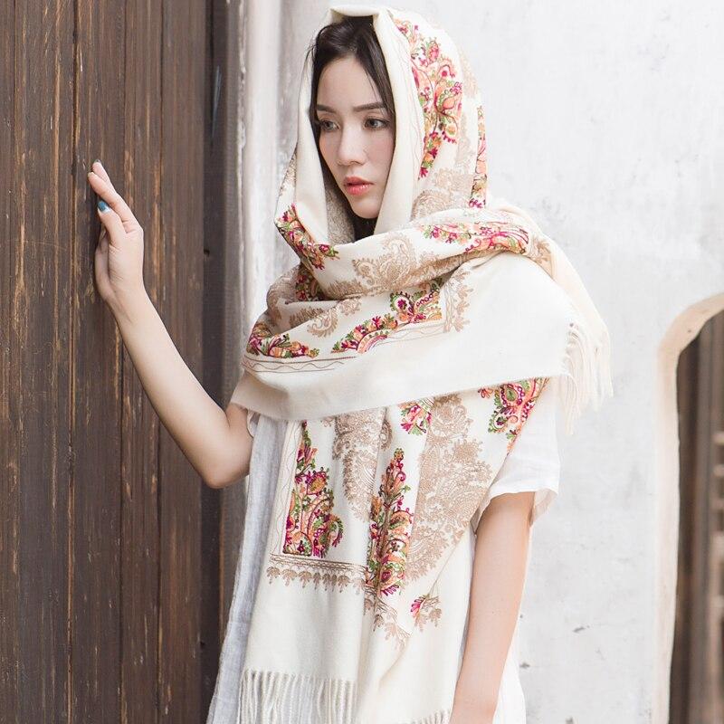 高級ブランドカシミヤ女性刺繍スカーフストール暖かいショールバンダナスカーフイスラム教徒ヒジャーブビーチブランケットフェイスシールド スカーフ    グループ上の アパレル アクセサリー からの レディース スカーフ の中