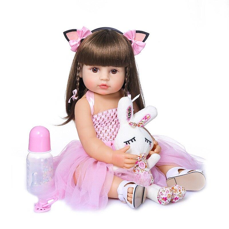55CM Ganzkörper Weichem Silikon Reborn Puppe Neugeborenen Kleinkind Mädchen Vinyl Spielzeug Baby Puppen mit Zubehör
