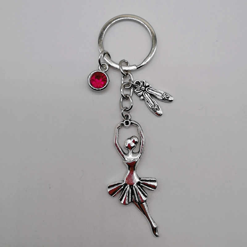 1 antique silver ballerina ballerina with dance shoes and tassel pendant key ring heart I love dancing charm keychain jewelry