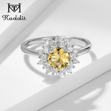 Kuololit Yellow Diaspore Gemstone Ring for Women sterling silver 925 jewelry Ring for Wedding Engagement Citrine Fine Jewelry