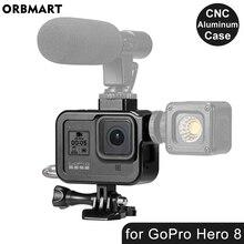 CNC boîtier en aluminium pour GoPro Hero 8 noir métal cadre Cage + protection décran + lentille verre trempé pour Go Pro 8 accessoires