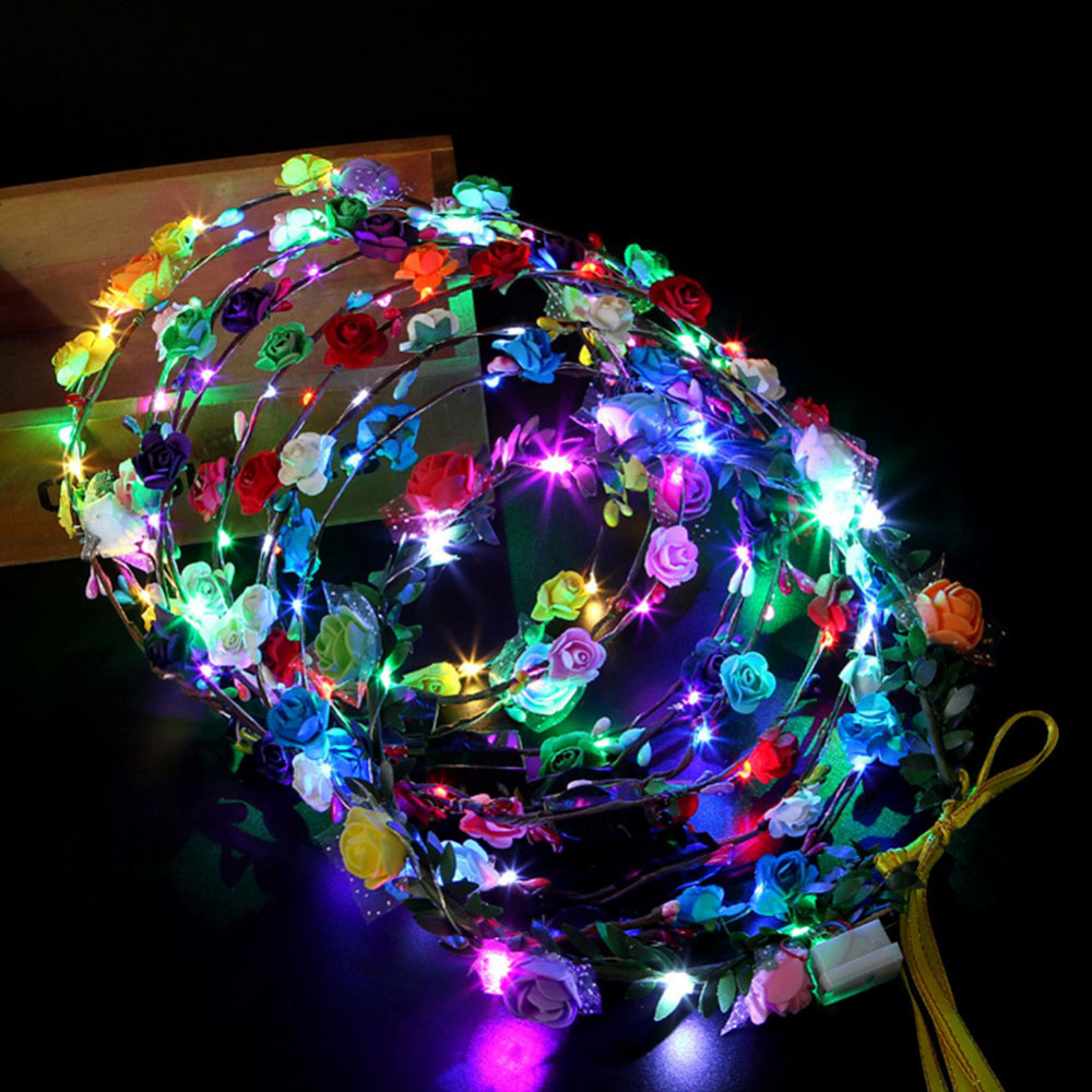 10 Glowing Garland Wedding Party Crown Flower Headband LED Light Christmas Neon Wreath Decoration Luminous Hair Garland Hairband in Glow Party Supplies from Home Garden