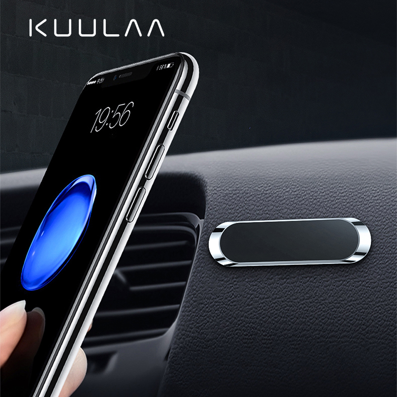 KUULAA Mini Strip Shape Magnetic Car Phone Holder Stand For IPhone Samsung Xiaomi Wall Metal Magnet GPS Car Mount Dashboard