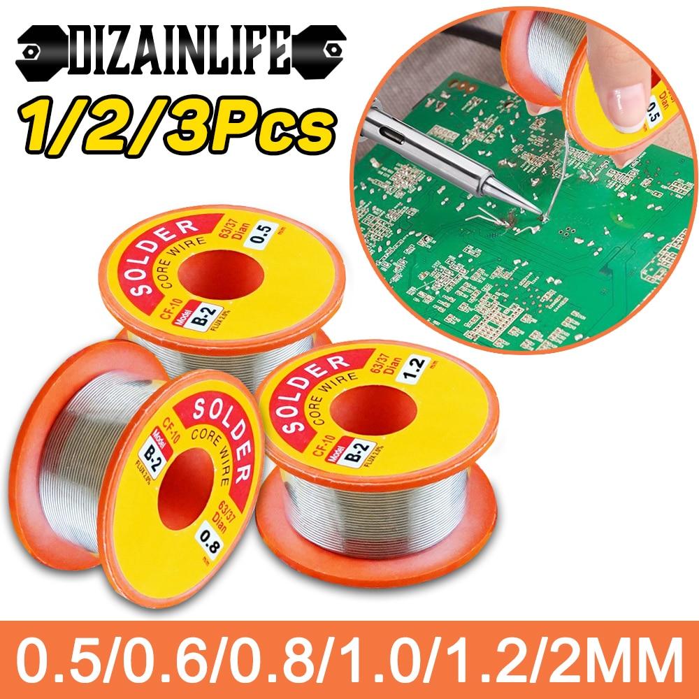 1/2/3 pces desoldering fios trança mecânico rosin núcleo fio de solda rolo 0.5/0.6/0.8/1/1.2/2mm 63/37 fluxo 2.0% 45ft estanho fio derreter