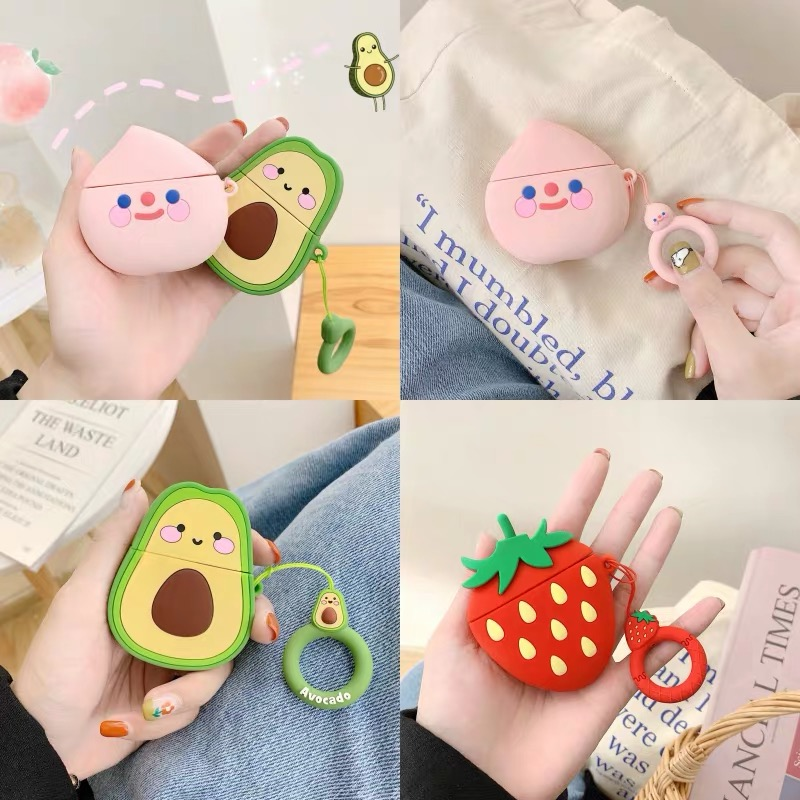 Capa For Apple AirPods 2 Earphone Soft TPU Case For Apple Air Pods 1 Cute Cartoon Strawberry Avocado Peach Cover Case With Hooks