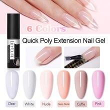 Lilycute extensão rápida gel de unha claro rosa branco 6 cores para unhas extensões do dedo formulário adesivo dicas verniz da arte do prego