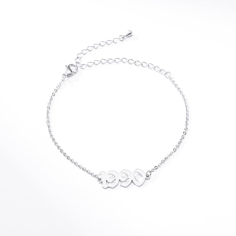 Personalized Year Number Bracelets Women Fashion Stainless Steel Bracelet Custom Year 1990 1995 2000 Birthday Gift BFF Pulseras
