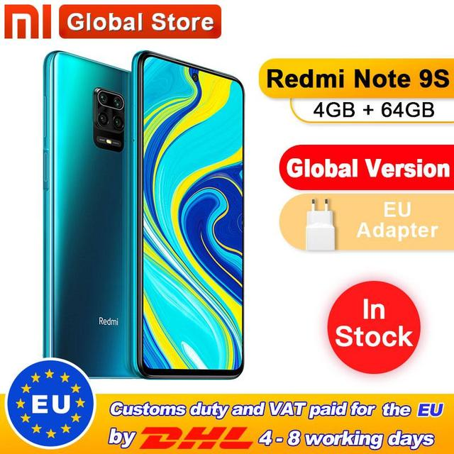 Global Version Xiaomi Redmi Note 9S 64GB 4GB smartphone Snapdragon 720G Octa core 5020 mAh 48MP Quad Camera