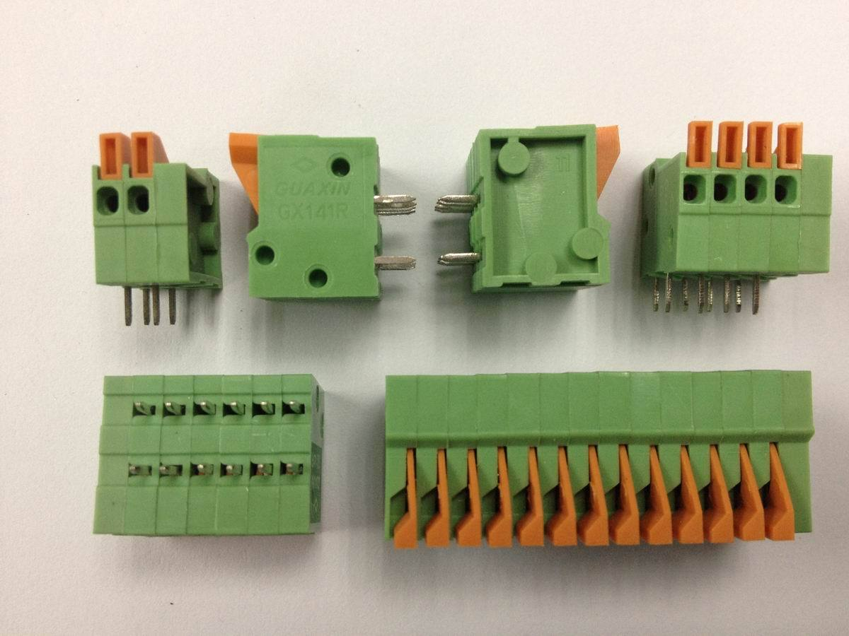 50PCS/Lot KF141R KF141V 2.54mm Pitch PCB Straight Foot Connectors 2/3/4/5/6/7/8/9/10P Spring Screless Copper Terminal Block