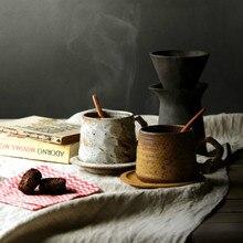 Нордическая грубая ручная работа керамика кофейная чашка набор японский ретро креативный Высокое качество чашка и блюдце искусство керамическая кофейная чашка D6D