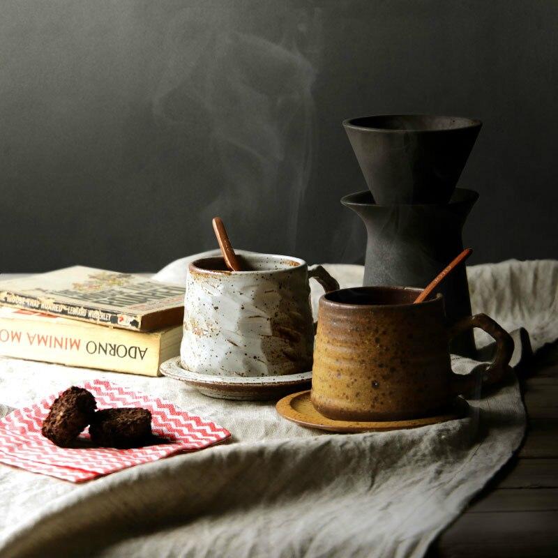 Нордическая грубая ручная работа керамика кофейная чашка набор японский ретро креативный Высокое качество чашка и блюдце искусство керами...